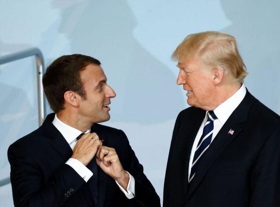 President Macron of France speaks with Donald Trump at the G20 summit in Hamburg