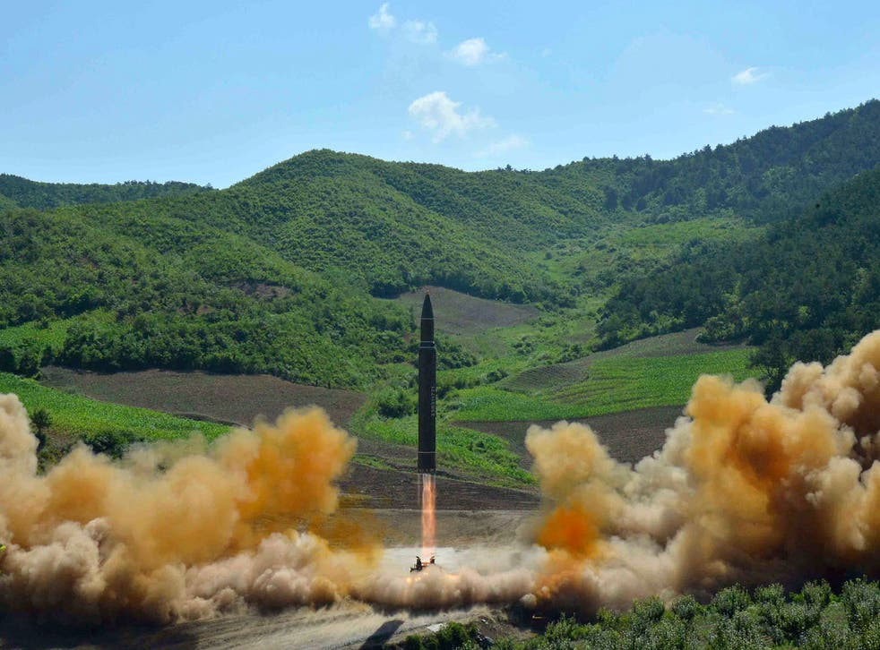 This photo, distributed by the North Korean government, shows what was said to be the launch of a Hwasong-14 intercontinental ballistic missile, ICBM, in North Korea's northwest