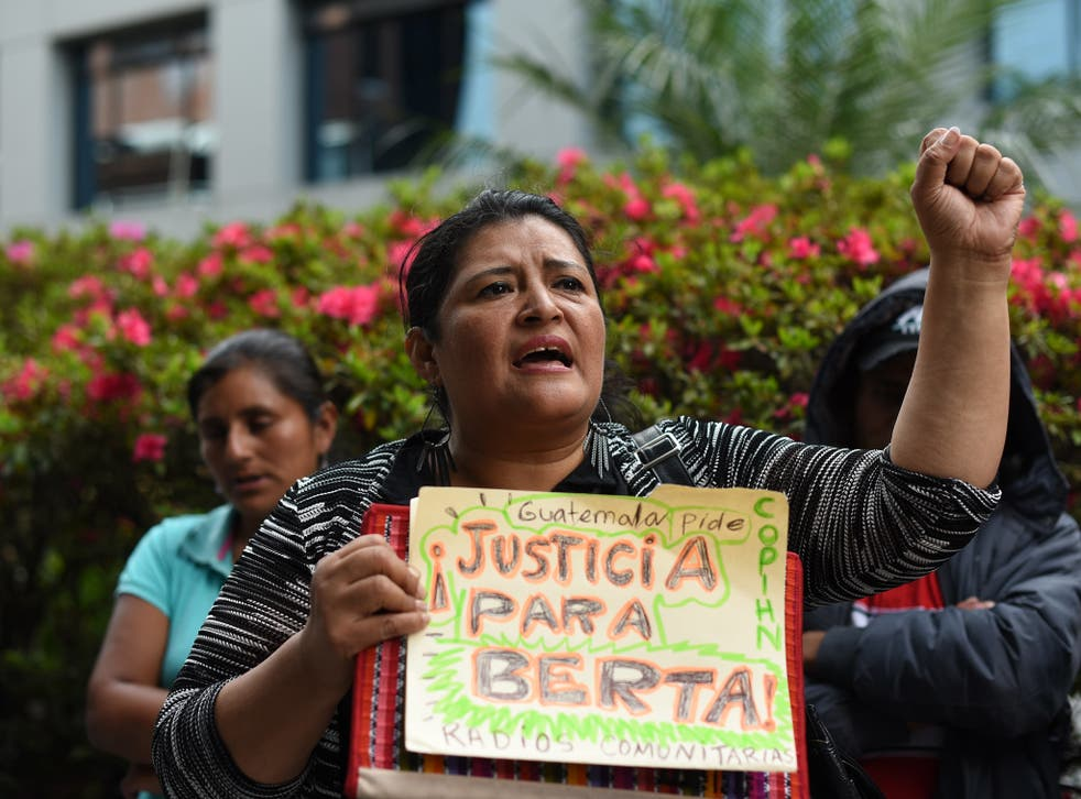 Environmental and human rights activist protest against the murder of Honduran environmental activist Berta Caceres over her opposition to a hydroelectric dam