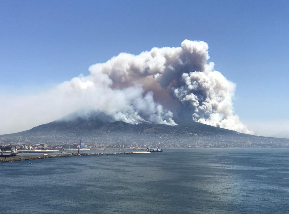 The famed stratovolcano was on fire last week