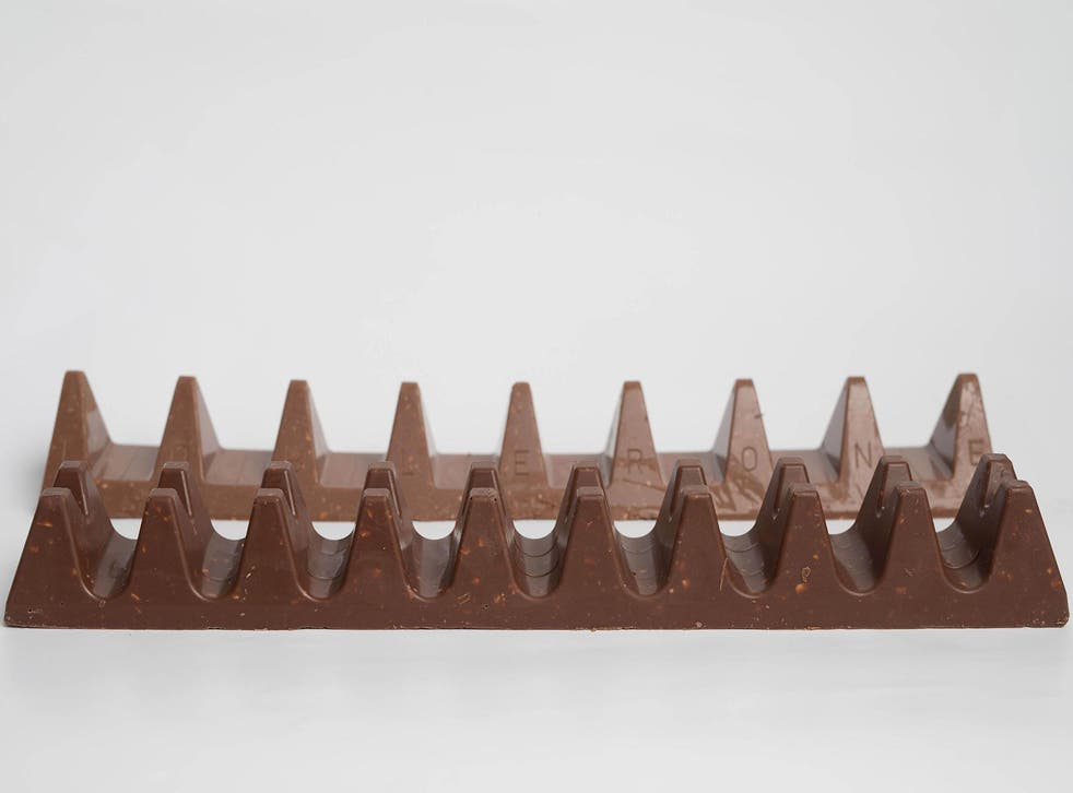 Poundland's Twin Peaks bar (front) launched on the back of Toblerone reducing the number of triangles