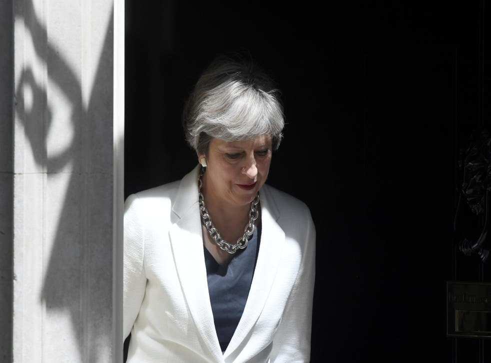 Theresa May on the doorstep of No 10 today
