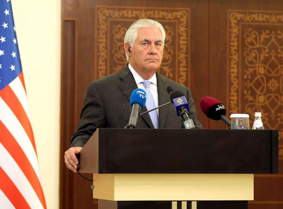 US Secretary of State Rex Tillerson listens to questions by journalists during a press conference in Doha,