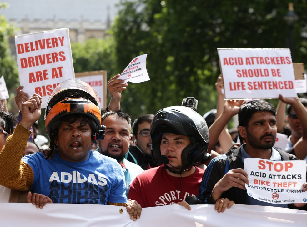 Delivery drivers have demanded greater protections after being targeted in a series of acid attacks