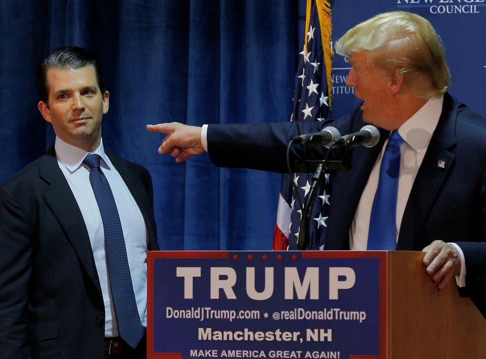 Donald Trump introduces his eldest son and namesake on the campaign trail