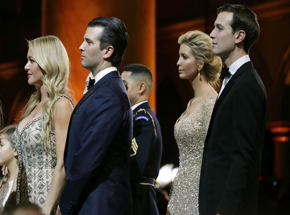 Donald Trump Jr, second left, and Ivanka Trump, second from the right, were being investigated for fraud