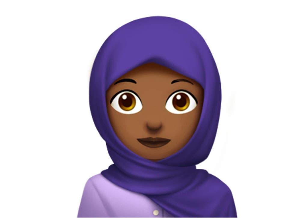 The Apple version of the headscarf emoji