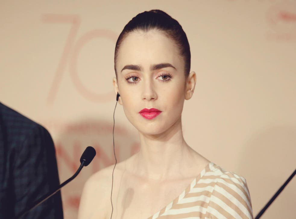 Lily Collins attends the 70th annual Cannes Film Festival