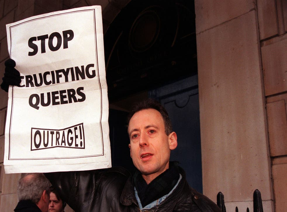 Peter Tatchell campaigns outside the Scotland Office at Dover House, London