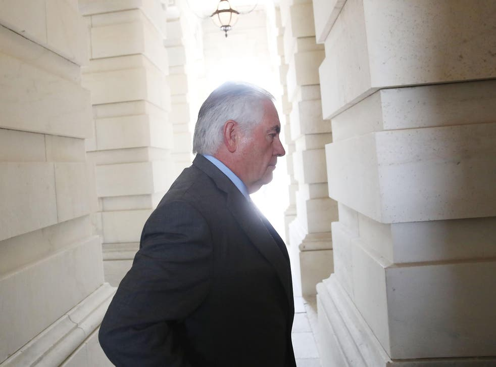 Secretary of State Rex Tillerson arrives at the Capitol to join Secretary of Defense Jim Mattis in briefing House members on the situation with ISIS