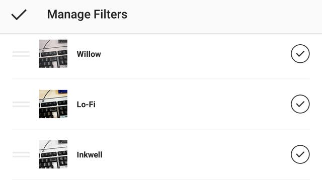 Filters are a core part of Instagram, but there are so many available it can be easy to get lost. You can change the order in which they appear, and even hide the ones you never use, to speed up your photo-sharing process. On the filters page, scroll to the end, tap Manage, then drag and drop the ones you want to reorder, and un-check the ones you want to hide.