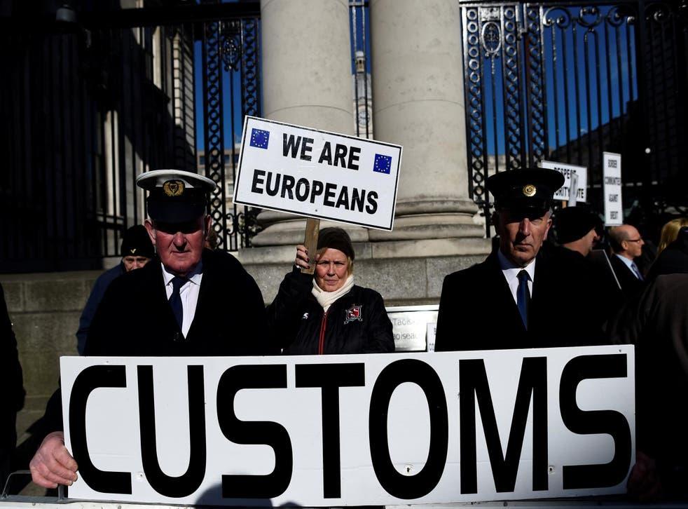 Anti-Brexit campaigners outside Irish government buildings in Dublin in April