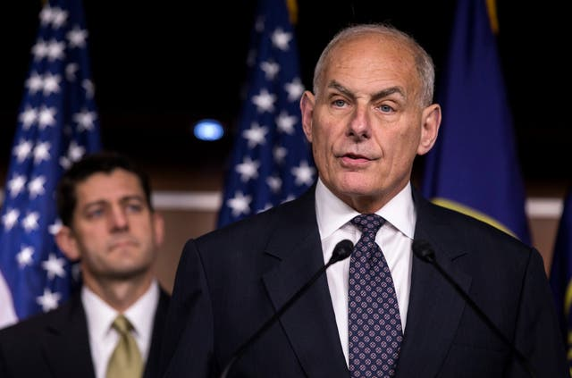 The then Homeland Security Secretary speaks to the media about immigration enforcement legislation