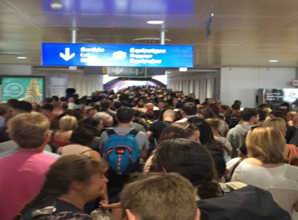 Crush hour: passengers from Britain at Palma airport had to queue for 90 minutes to get through passport control