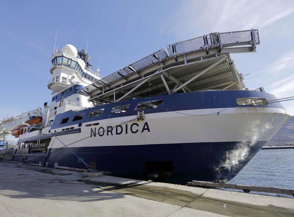 The Finnish icebreaker MSV Nordica docked in Nuuk, Greenland, after traversing the Northwest Passage through the Canadian Arctic Archipelago