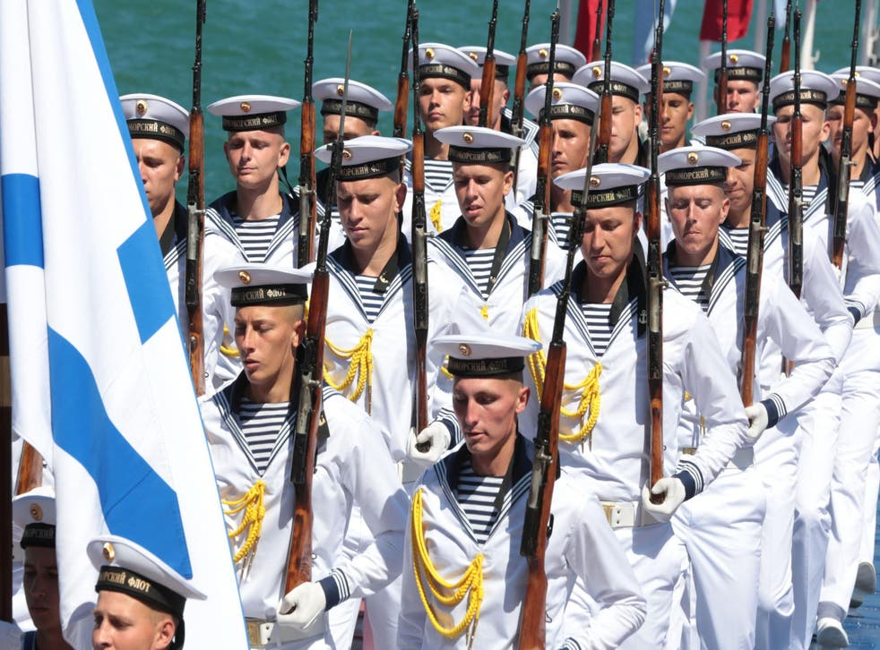 Russian naval soldiers took part in processions across the vast country, as well as Tartous in Syria and Sevastopol in Crimea