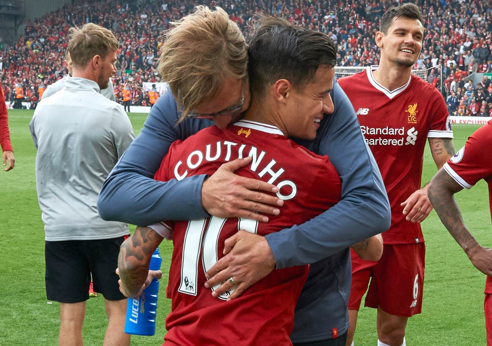 Image result for Pictures of Jurgen klopp and Philippe Coutinho