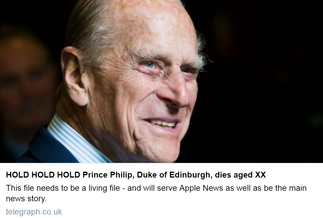 death of Prince Philip ...