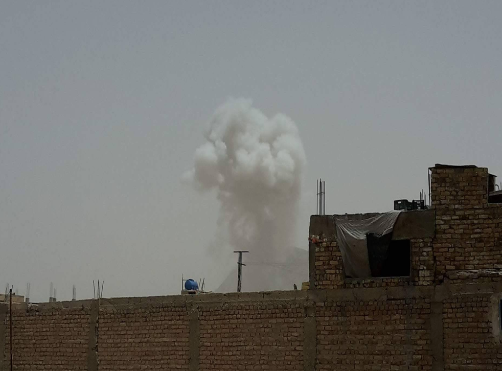Photo purportedly showing blast which hit a convoy carrying international troops near a major international military base in Kandahar province