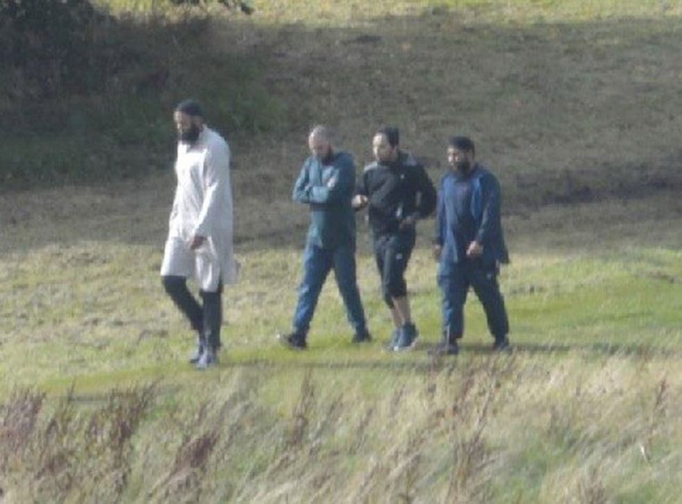 Naweed Ali, Tahir Aziz, Mohibur Rahman and Khobaib Hussain walking in the park at Bank Hall Road on August 21 2016, five days before their arrests