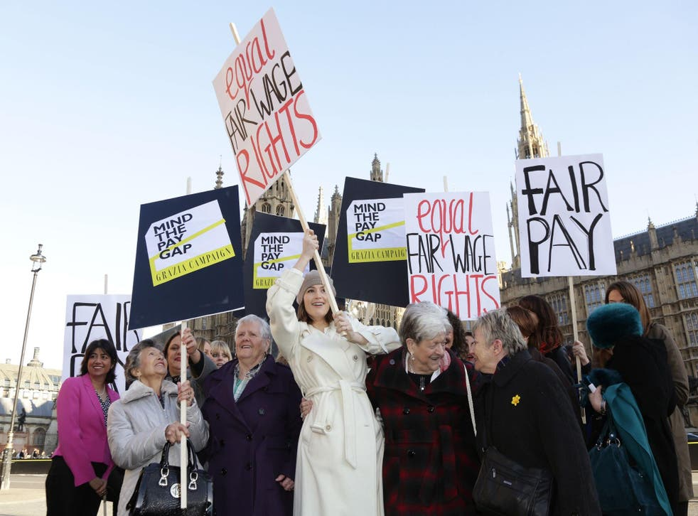 The cast of the musical 'Made in Dagenham' protest outside Parliament against the gender pay gap