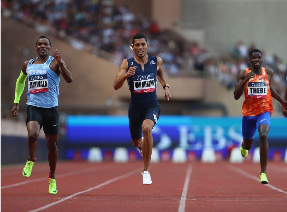 Wayde van Niekerk in action during the 400m at the IAAF Diamond League Meeting Herculis