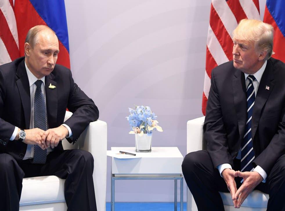 Vladimir Putin and Donald Trump at the G20 Summit in Hamburg last month
