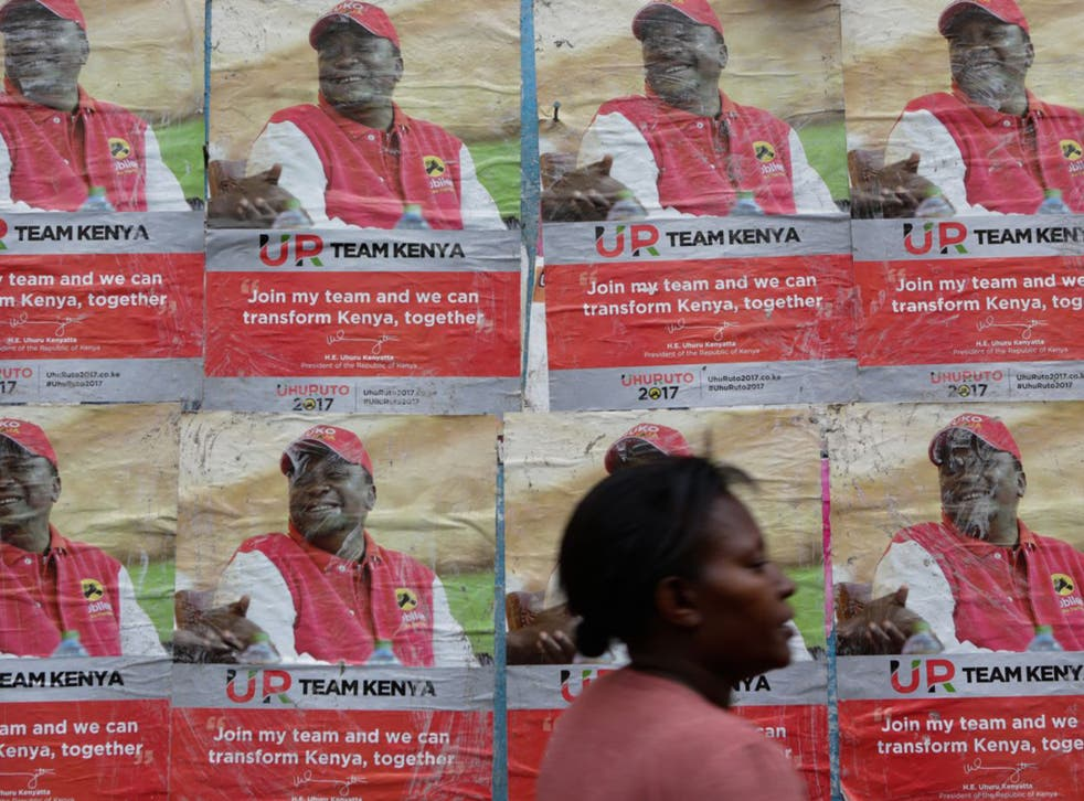 Nairobi: Campaign posters of Kenyan President Uhuru Kenyatta line the streets of the capital