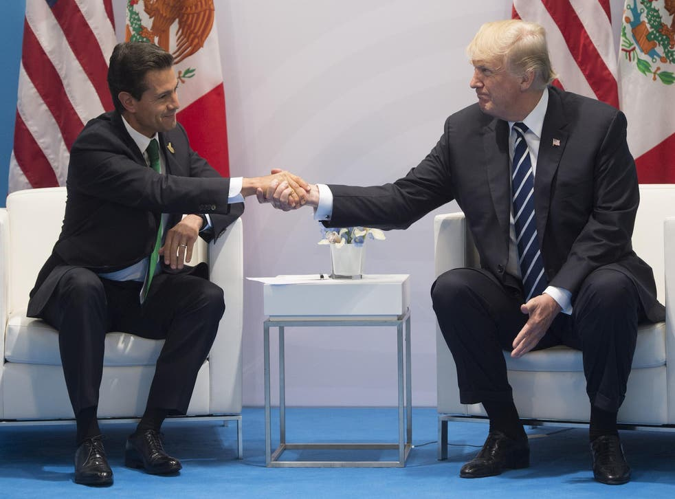 US President Donald Trump and Mexican President Enrique Pena Nieto shake hands during a meeting on the sidelines of the G20 Summit in Hamburg, Germany