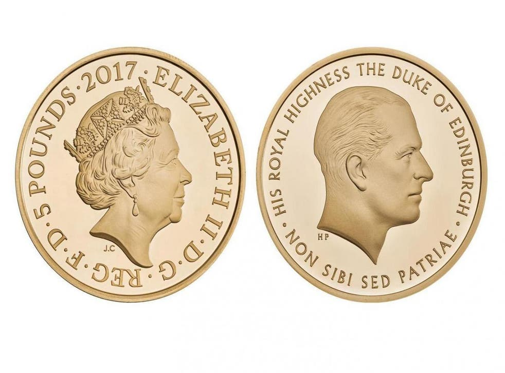 The new £5 coin launched by the Royal Mint marking Prince Philip's end to royal duties