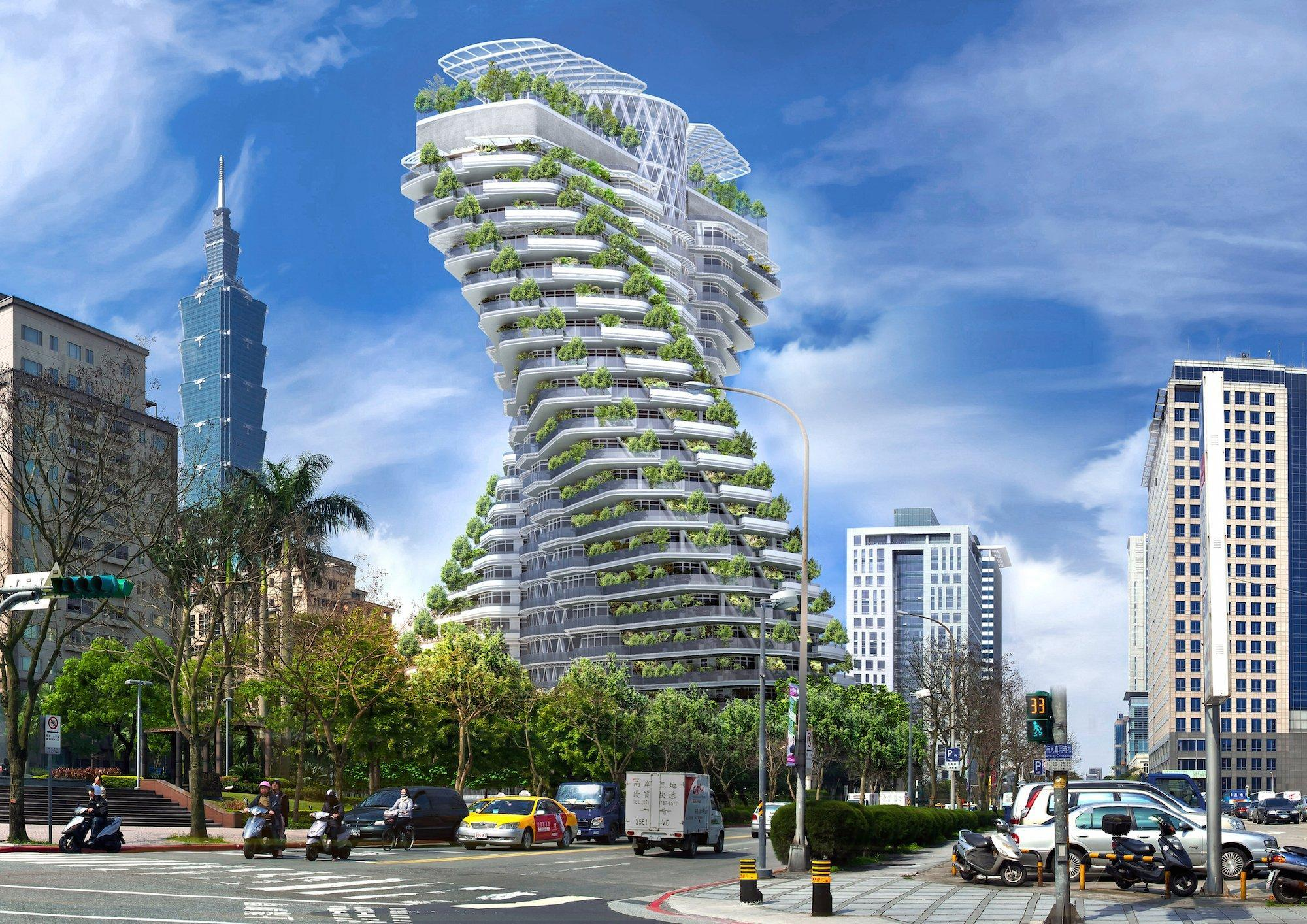 A smog eating twisting tower that features luxury apartments will