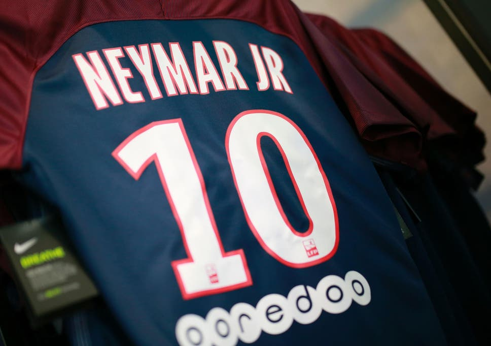 neymar given the number 10 shirt at paris saint germain as javier