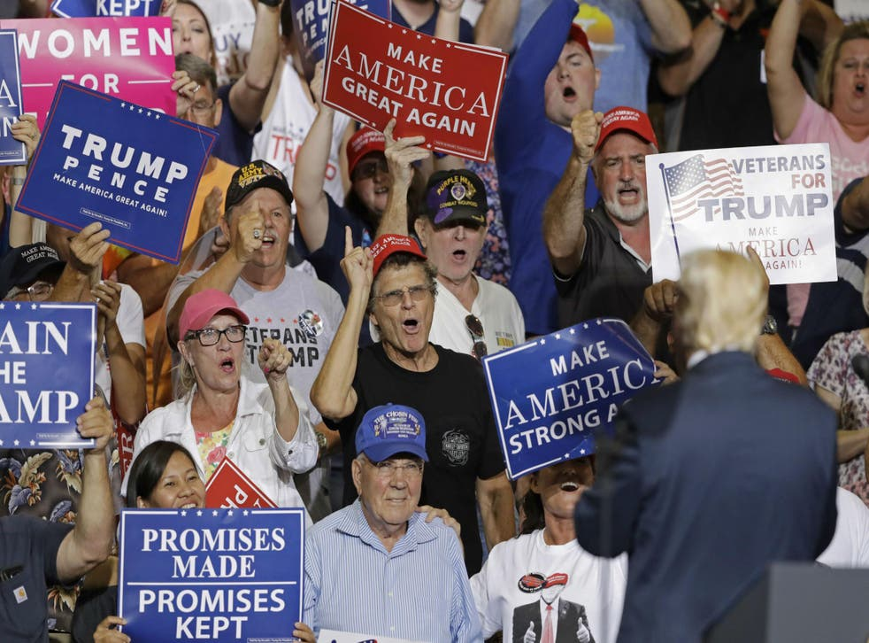 Donald Trump surveys a rally of core supporters