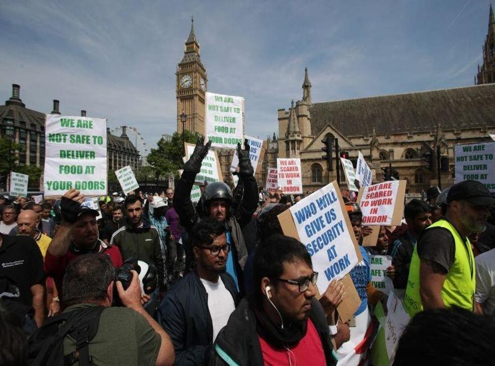 Food delivery drivers protested after five separate victims were targeted by attackers