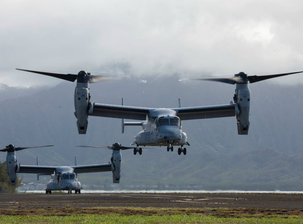 The US military has been in the area for training exercises with their Australian counterparts which have involved the MV-22, also known as an Osprey