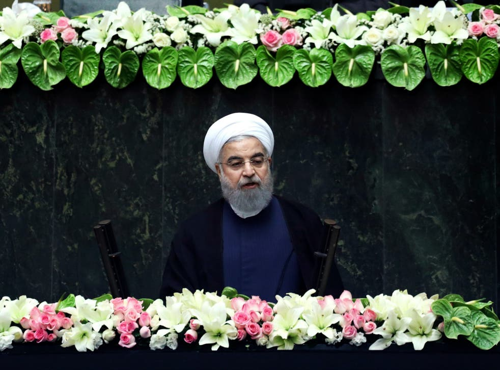 Iran's President Hasan Rouhani delivers a speech after his swearing-in ceremony