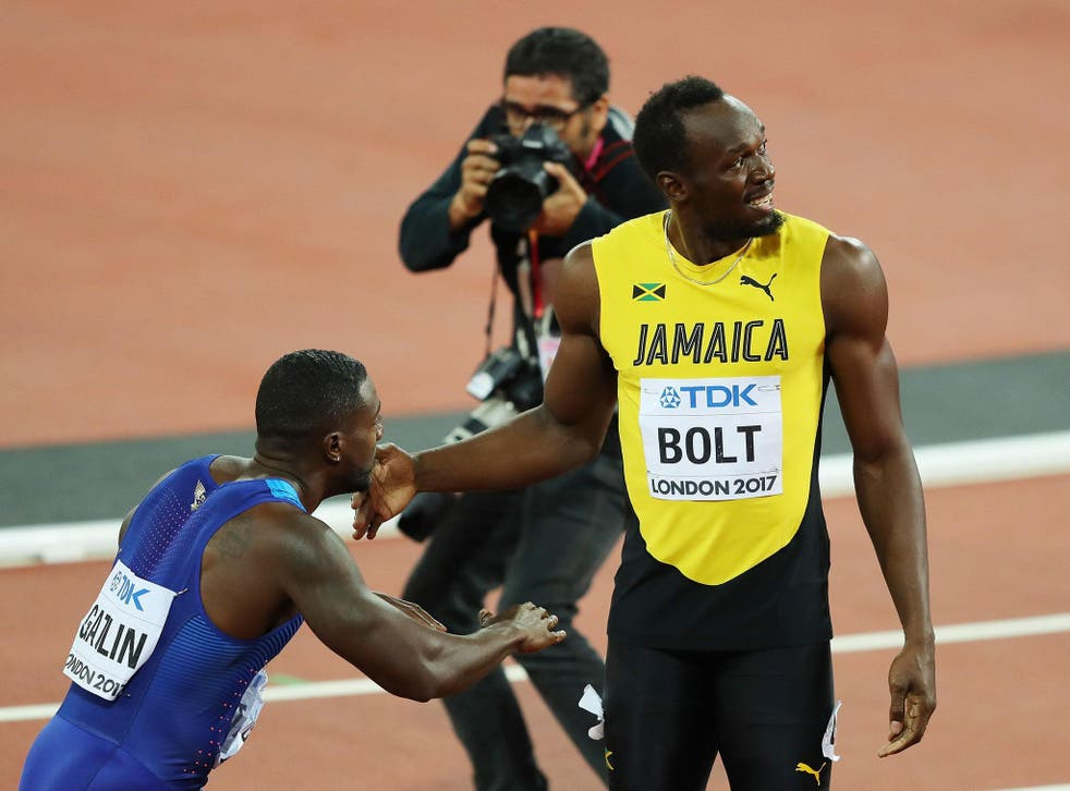 Justin Gatlin and Usain Bolt after their 100m final in London