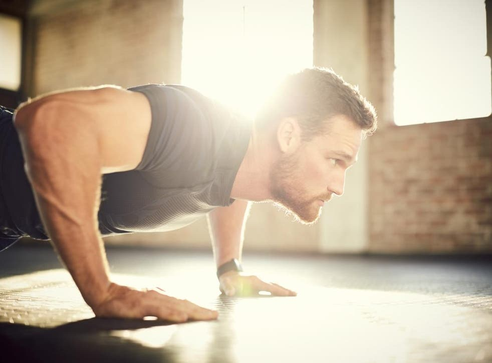 A push-up position
