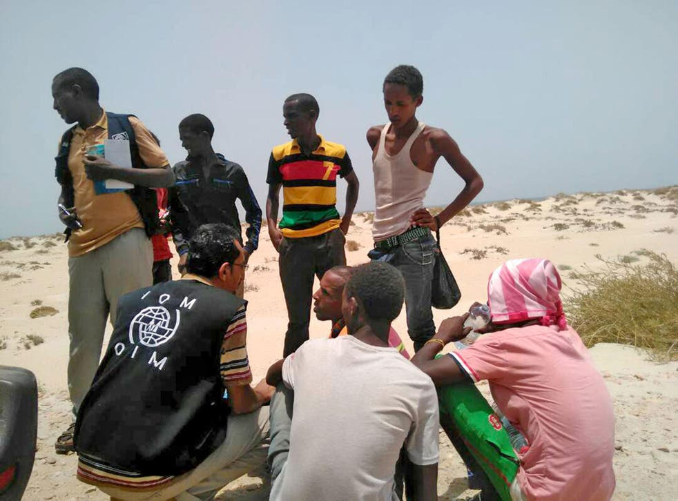 International Organisation for Migration staff assist Ethiopian migrants forced into sea by smugglers in 2017