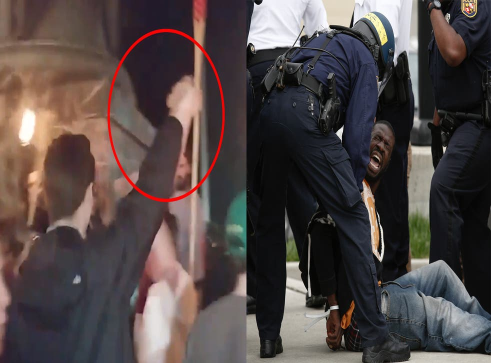 A young man showing the 'Hitler salute' during the University of Virginia white supremacist rally (left) and Baltimore Police officers arresting a man near in Baltimore Maryland during a protest over the death of Freddie Gray, who died in police custody.