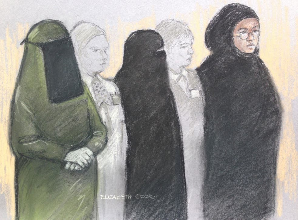 Mina Dich, 43, Rizlaine Boular, 21, and Khawla Barghouthi, 20, appearing at Westminster Magistrates Court in May charged with preparing a terrorist act and conspiracy to murder.