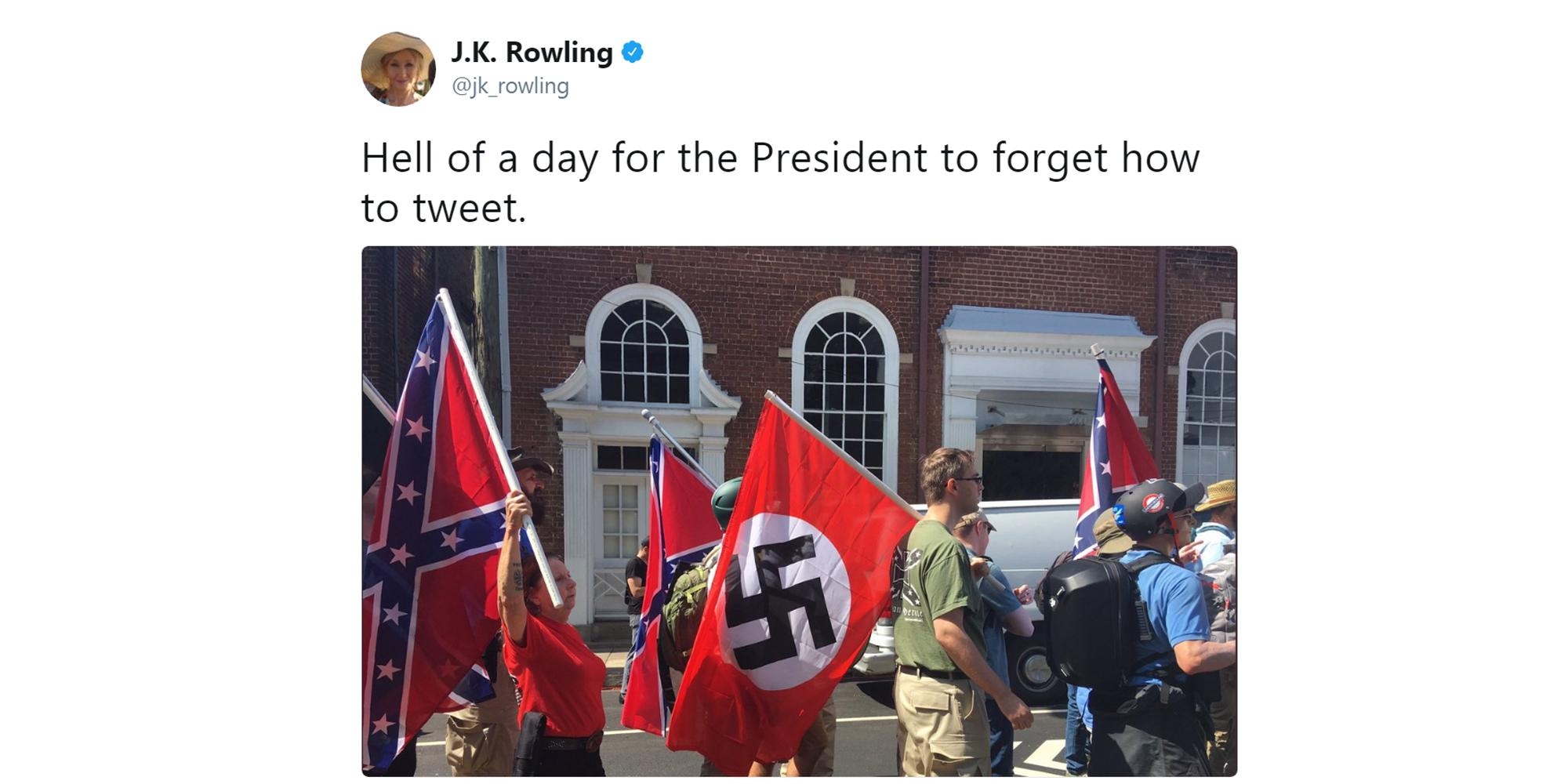 JK Rowling just took down Trump over the Charlottesville far-right rally in the most epic way