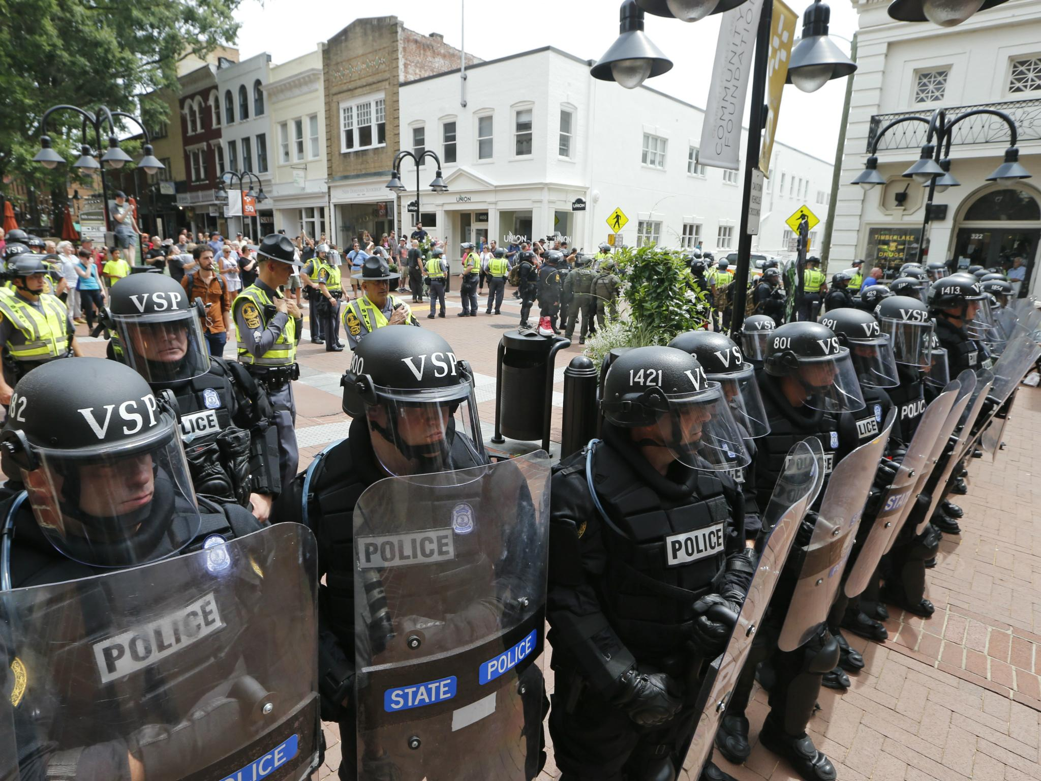 State police stand ready in riot gear