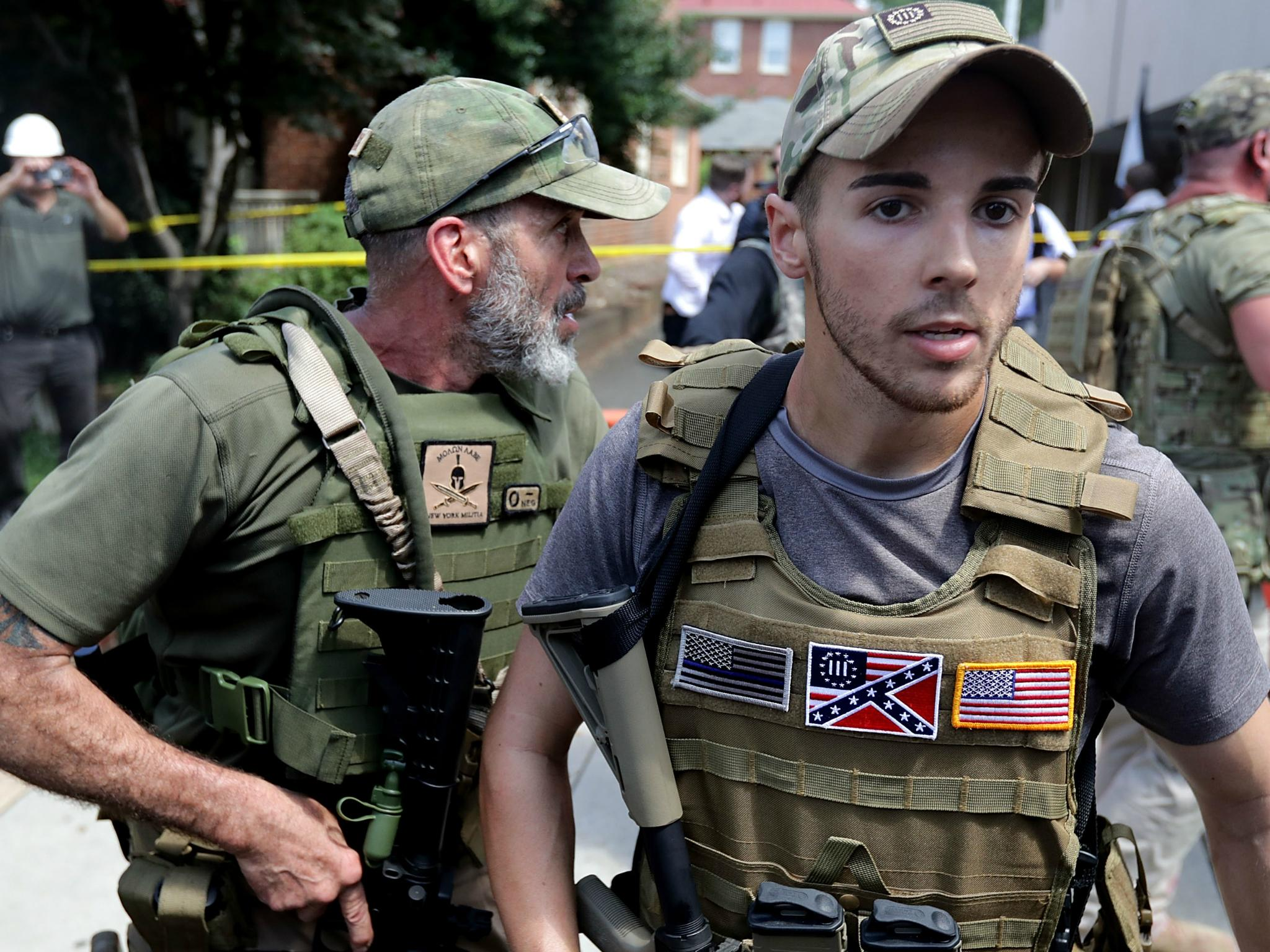 Militia armed with assault rifles