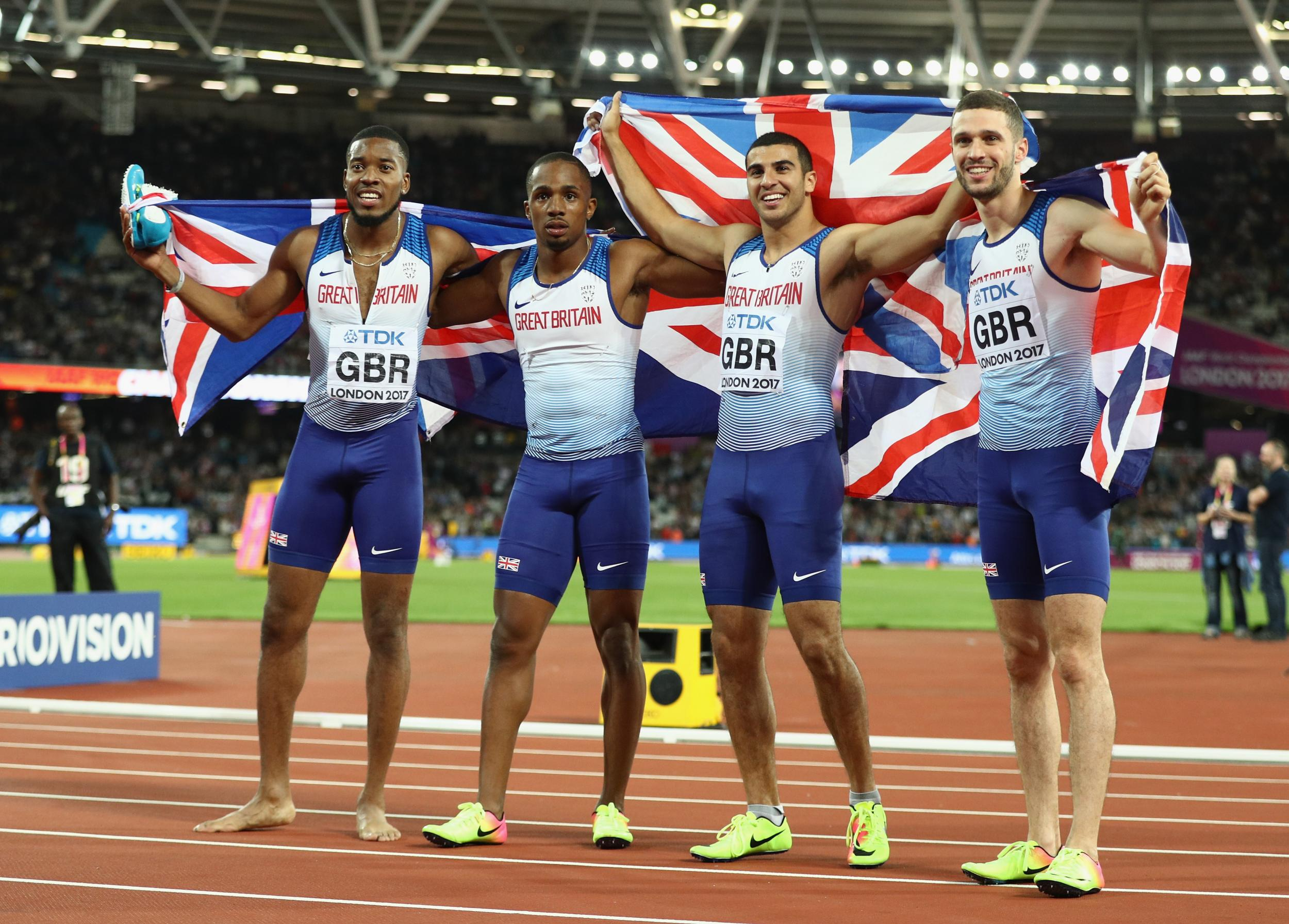 Great Britain storm to surprise gold in men's 4x100m relay ...