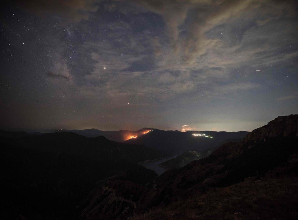 The 'Perseids' meteor shower seen late on August 12, 2017 in Skopje, Macedonia