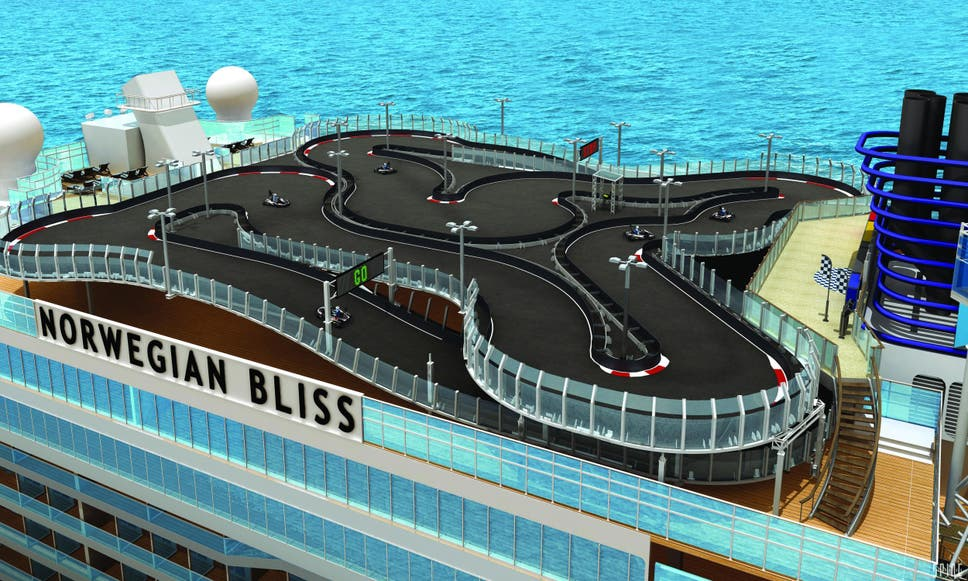 new cruise ship will feature 1 000ft go kart race track the