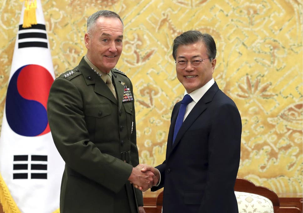 South korea in plea to avoid north korea war after trumps locked south korean president moon jae in poses with us joint chiefs chairman general joseph dunford fandeluxe Image collections