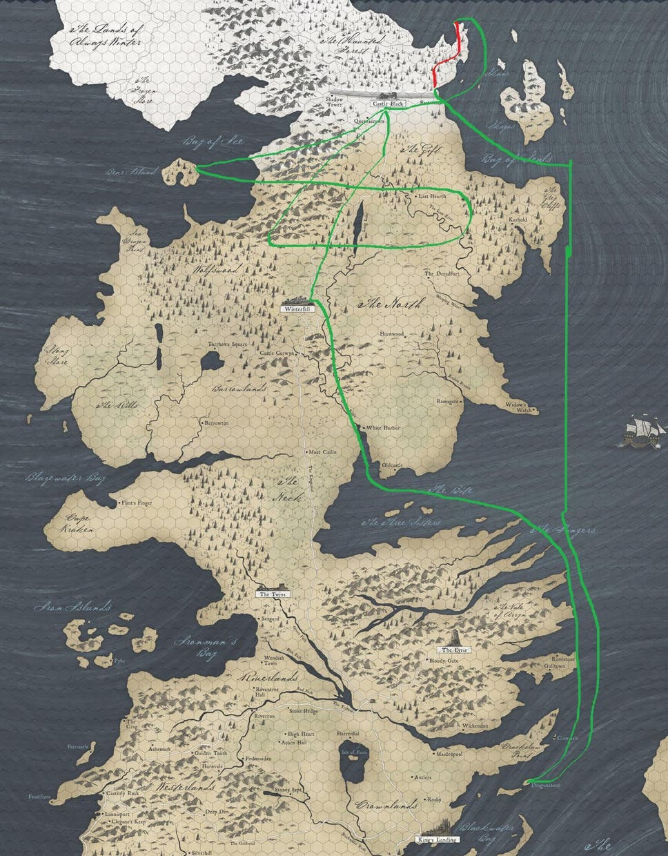 Game of thrones season 7 white crawlers map shows how far jon snow they might want to pick up the pace gumiabroncs Gallery