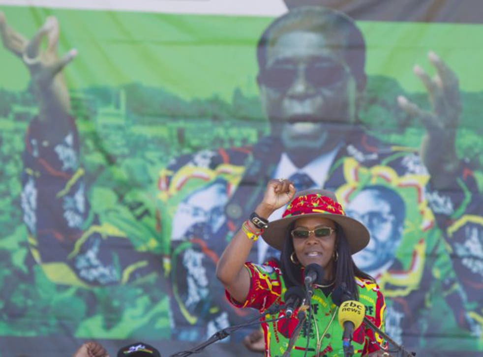 Grace Mugabe at a rally in Lupane last month